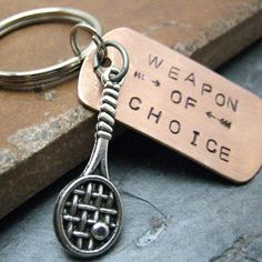 TENNIS RACQUET Weapon of Choice Keychain hand stamped alt charms available, best seller from riskybeads on Etsy. Saved to Tennis! Tennis Rules, Sport Tennis, Play Tennis, Tennis Match, Tennis Party, Tennis Gifts, Tennis Bags, Softball Gifts, Cheerleading Gifts