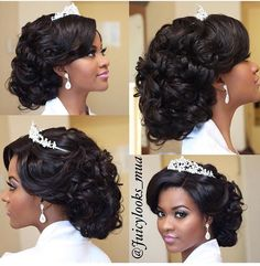 Black Wedding Hairstyles For Bridesmaids Halo - when the bride looks like a princess makeup & hair Natural Hair Wedding, Natural Wedding Hairstyles, Black Brides Hairstyles, Bride Hairstyles, Black Bridesmaids Hairstyles, Bridesmaid Hair, Prom Hair, Curly Hair Styles, Natural Hair Styles