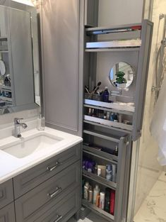 Great option for makeup storage in bathroom cabinetry! Great option for makeup storage in bathroom cabinetry! Bathroom Cabinetry, Bathroom Renos, Bathroom Renovations, Bathroom Makeovers, Bathroom Mirrors, Wood Bathroom, Bathroom Cabinet Storage, Bathroom Makeup Storage, Narrow Bathroom Cabinet