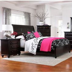 Lowest price online on all Broyhill Farnsworth Sleigh Bed 3 Piece Bedroom Set in Inky Black Stain - 4856-3Pc-SleighBed-Set