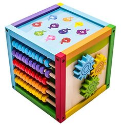 """Mmp Living 6-in-1 Play Cube Activity Center - Wood, 8"""" - 6 Sided Including Counting, Gears, Abacus, Tic Tac Toe, Block Track And 3 Different Bead Play Options Cat Activity Centre, Activity Cube, Activity Toys, Activity Centers, Play Cube, Cube Toy, Toddler Toys, Baby Toys, Buddy Holiday"""