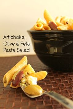 Artichoke, Olive & Feta Pasta Salad with a delicious olive oil based homemade dressing | 5DollarDinners.com