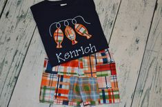 Boys Madras Three Fish on a Line Outfit  Shirt and Plaid Shorts Set PERSONALIZED  monogram