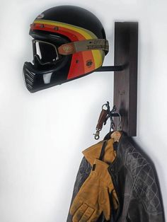 great helmet rack Handcrafted from Antique finished Wood 8e6a9bb1ca0