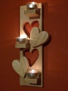 Heart Cut-out Pallet Tea Light Holder Pallet Candle HoldersPallet Wall Decor & Pallet Painting #WoodworkingProjectsCandleHolder