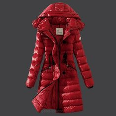 Moncler Womens Slim Hooded Long Puffer Coat 3014 Red [Moncler_D365] - £204.73 : Zen Cart!, The Art of E-commerce