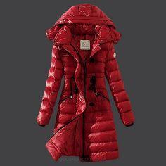 Moncler Womens Slim Hooded Long Puffer Coat 3014 Red [Moncler_D365] - £204.73 : Zen Cart!, The Art of E-commerce