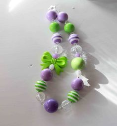 Lime and Lavender Bow Chunky Necklace- Birthday - Dress Up- Christmas Necklace - Photo prop- children's accessory