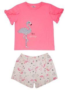 Two Way Sequin Flamingo Pyjamas - 12 Yrs) Sleepwear Sets, Pink Shorts, Printed Shorts, Pyjamas, Flamingo, Ss, Sequins, Crop Tops, Holiday