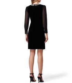 Color:Black - Image 2 - Beaded Neck Stretch Velvet Sheath Dress Grooms Mom Dress, Sheath Dress, Dress Skirt, Neck Stretches, Black Image, Vintage Style Outfits, Latest Trends, Chiffon, Dresses For Work