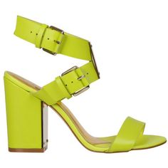 Ted Baker Women's Lissome Block Heeled Sandals - Green Leather ($215) ❤ liked on Polyvore