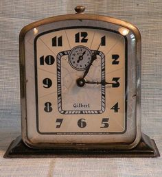 GILBERT ART DECO ALARM CLOCK-GREAT DIAL