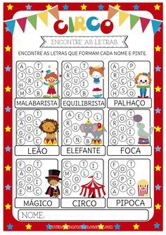 Blog com atividades escolares. Voltado para mães e professoras. Preschool Circus, Reggio Emilia, Alphabet, Playing Cards, Letters, Teaching, Notebook, Games, Blog