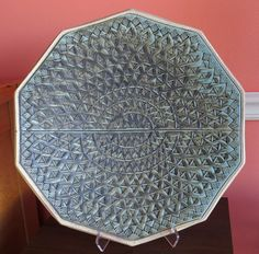This beautiful 16 inch ceramic platter was created using just two MKM Stamps4Clay. Used in a repetitive fashion, the Sts-11 stamp was used as the primary stamp. And the Sss-07 was used to create the border.
