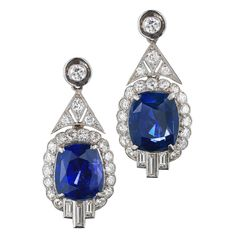 Ceylon Sapphire Diamond Platinum Pendant Earrings (Fred Leighton via Sapphire Jewelry, Sapphire Earrings, Pearl Drop Earrings, Pendant Earrings, Ceylon Sapphire, Sapphire Diamond, Art Nouveau, Art Deco, Antique Earrings