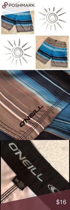 😎BOARD•SHORTS✌🏼 O'Neill Blue/Gray/Black Board Shorts. Velcro Font With Tie, Side Velcro Pocket. Great Condition! 🌟🌟🌟 O'Neill Swim Board Shorts