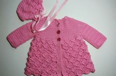 Pink Crocheted Baby Cardigan and Hat Set      READY TO SHIP  Size 3 to 6 months
