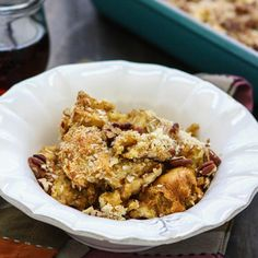 Perfect for brunch or dessert, this is an ideal casserole for holiday time. It uses leftover ingredients from other holiday recipes – canned pumpkin, bread, coconut and pecans. Photo credit: Katie Goodman from Good Life Eats.