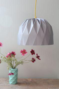 Big Origami Lamp, Grey Hanging Lampshade, Paper Lampshade