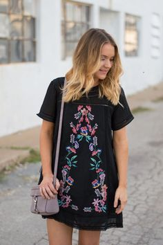Embroidered Dress with booties | Spring Fashion inspiration | Ginghamandglam.com