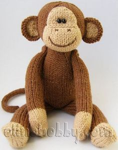 Crochet Stuffed Toys Knitted monkey - Size knitted Monkey of about 23 cm inches). Knitted Doll Patterns, Animal Knitting Patterns, Knitted Dolls, Crochet Dolls, Crochet Patterns, Crochet Cats, Crochet Birds, Loom Knitting, Free Knitting