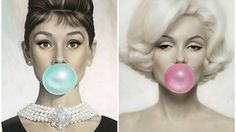 Audrey Hepburn and Marilyn Monroe making balloons out of bubble gums