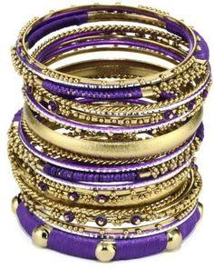 "Amrita Singh ""Bangle Bangle"" Silk with 18k Gold-Plated Purple Bangle Bracelet"
