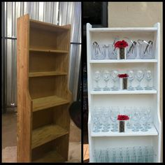 Before and After pics of my old book case. Reuse, renew, repurpose