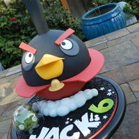 The Black Bird From Angry Birds Space For Jacks 6th Birthday The Bird Ws Baked In The Wilton 6 Ball Pan And Frosted With Ganache To Help