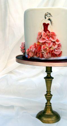 Bridal Shower Cake-Flowery Dresses Parrot tulip, mini roses, sweet pea