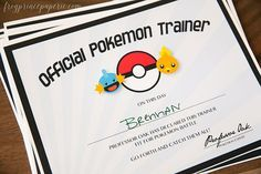 Pokemon Inspired Printable Trainer por FrogPrincePaperie en Etsy