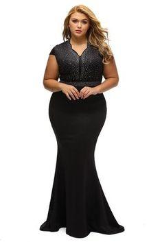 edba6635357 BIG n BEAUTIFUL Elegant Black Rhinestone Front Bodice Plus Size Dress