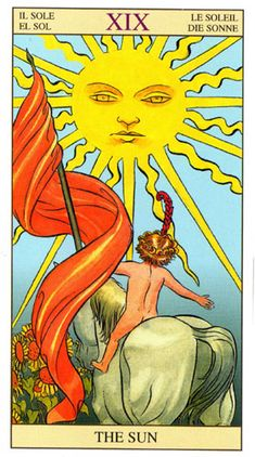 O Sol, Arcano Tarot Of New Vision por Pietro Alligo ilustrado por Raul y Gianluca Cestaro, baseado no Tarot de Rider-Waite. Tarot Waite, Rider Waite Tarot Cards, Cards Diy, Wicca, Tarot Major Arcana, Oracle Tarot, Tarot Learning, Tarot Card Meanings, Sun Art
