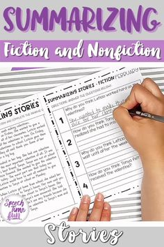 Want a way to work on summarizing fiction and nonfiction stories without the prep? Want more activities for your older speech and language students?! Use this print and go pack throughout the entire year! Help your speech and language students grasp summarizing and build confidence!