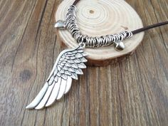 INSPO Handmade DIY antique bohemia vintage tibetan alloy angel wings charms pendants women sweater leather necklace men's jewelry