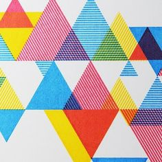 Goccoa process CMY geometric triangle print pattern by design des troy