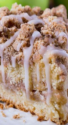 Apple fan?  You must try this coffee cake loaded with apples and crunchy brown sugar-cinnamon streusel crumbs, drizzled with apple cider glaze.