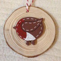 Personalised Christmas Tree Decorations Rustic Robin Bark Slice