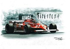 1981 Ferrari 126 CK,  Gilles Villeneuve,  Didier Pironi.  Ferrari F1 collection ART by Artem Oleynik. This collection demonstrating Ferrari F1 racing cars since 1950 to 2016 and includes 96 pictures in oil on canvas. The size of each original picture is 25 x 35 cm.