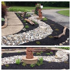 I had a bare spot I black mulch in front of my house and didn't know what to do with it. I was to keep the landscaping low considering there are plant behind this. So I went with a dry riverbed look!  It does a great job filling out the spot.