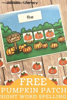 Work on sight words and spelling this fall with this fun and free printable pumpkin patch sight word center! Perfect for Kindergarten and grade! Sight Word Spelling, Sight Word Centers, Sight Word Activities, Word Work Centers, Sight Word Games, Kindergarten Centers, Kindergarten Reading, Literacy Centers, Literacy Stations
