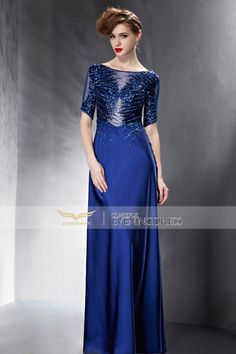 Alluring bateau neckline column #eveningdress with lace appliques! Is this your future prom look? #2016prom #weddingdress #longgown #wedding #longgown
