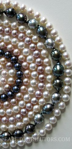 Pearl necklaces of different colors. #pearl necklaces #pearl jewelry