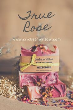 This is not your grandma's rose scent--this is pure rose in a scented bar soap, filled with organic oils and butters and yummy skin goodness!  See all our handmade bar soaps and more at www.cricketnwillow.com! Organic Oils, Organic Skin Care, Natural Skin Care, Handmade Gifts For Her, Handmade Soaps, Lye Soap, Spa Items, Soap Recipes, Soy Candles