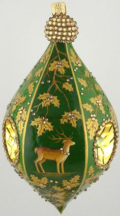 Christmas Ornament - Deer and Holly in Gold and  Burnished Green  - peach tree place online