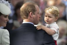 dailymail:  Christening of Princess Charlotte of Cambridge, July 5, 2015-Prince George with his parents