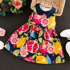Fruit Pattern Sleeveless O-neck Dress For Kids Girls