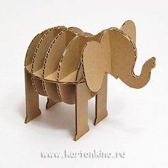 "Rack from cardboard ""Elephant"" Cardboard Animals, Paper Mache Animals, Cardboard Toys, Cardboard Furniture, Paper Clay, Diy Paper, Paper Art, Making Paper Mache, Paper Mache Crafts"