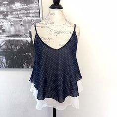 B Jewel Navy White Polka Dot Top 100% polyester  EUC B Jewel Tops