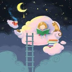Reading on cloud nine illustration I Love Books, Books To Read, Reading Art, World Of Books, Children's Book Illustration, Cute Drawings, Good Night, Night Book, Cute Art